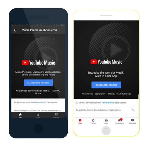 Youtube Music Premium kostet auf iOS mehr