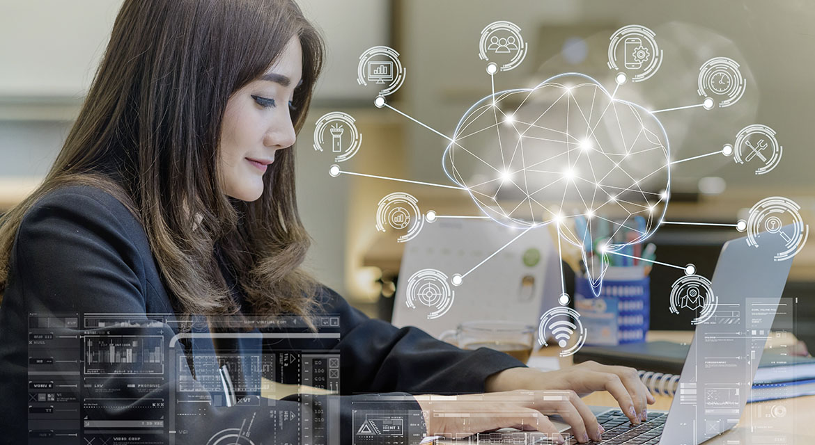 Asian businesswoman in formal suit working with computer laptop