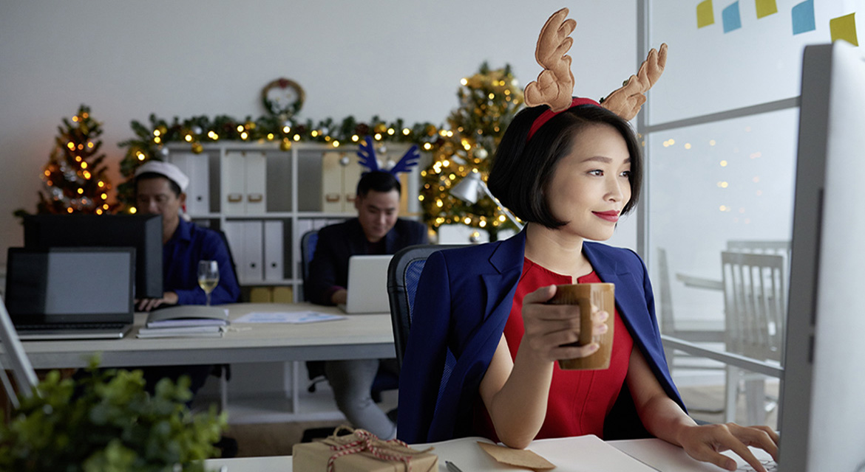 Enjoying Christmas in office