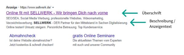 Aufbau Google Ads Anzeige